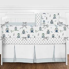 Navy Blue, Grey and Mint Modern Woodland Owl and Arrow Baby Boy Crib Bedding Set with Bumper - 9 Pieces