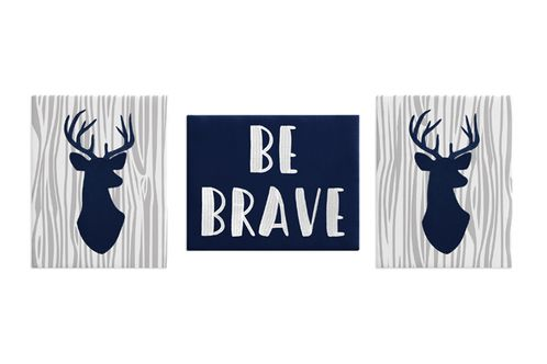 Navy Blue, Grey and White Stag Wall Art Room Decor Hangings for Baby, Nursery, Kids and Childrens Woodland Deer Collection by Sweet Jojo Designs - Set of 3 - Click to enlarge
