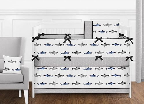Navy Blue, Grey, Black and White Watercolor Ocean Shark Baby Boy Nursery Crib Bedding Set with Bumper by Sweet Jojo Designs - 9 pieces - Click to enlarge