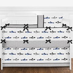 Navy Blue, Grey, Black and White Watercolor Ocean Shark Baby Boy Nursery Crib Bedding Set with Bumper by Sweet Jojo Designs - 9 pieces