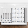 Navy Blue, Grey, Black and White Watercolor Ocean Shark Baby Boy Nursery Crib Bedding Set without Bumper by Sweet Jojo Designs - 4 pieces