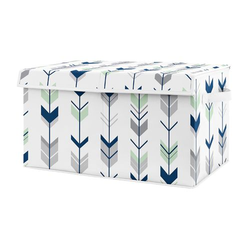 Navy Blue, Mint and Grey Woodland Arrow Unisex Boy or Girl Baby Nursery or Kids Room Small Fabric Toy Bin Storage Box Chest for Woodsy Collection by Sweet Jojo Designs - Click to enlarge