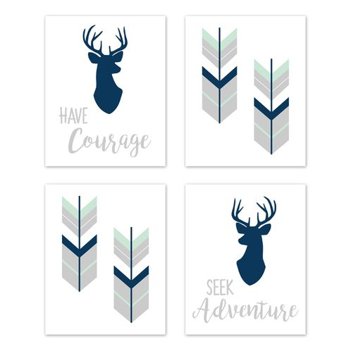 Navy Blue, Mint and Grey Woodland Deer Wall Art Prints Room Decor for Baby, Nursery, and Kids for Woodsy Collection by Sweet Jojo Designs - Set of 4 - Seek Adventure Have Courage - Click to enlarge