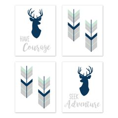 Navy Blue, Mint and Grey Woodland Deer Wall Art Prints Room Decor for Baby, Nursery, and Kids for Woodsy Collection by Sweet Jojo Designs - Set of 4 - Seek Adventure Have Courage