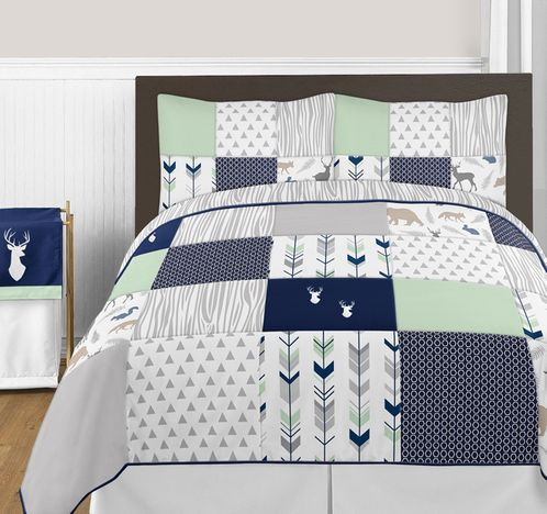 Navy Blue, Mint and Grey Woodsy Deer 3pc Boy Full / Queen Bedding Set by Sweet Jojo Designs - Click to enlarge