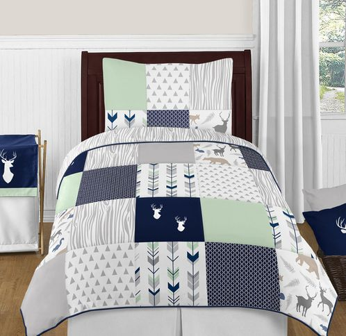 Navy Blue, Mint and Grey Woodsy Deer 4pc Twin Boy Bedding Set by Sweet Jojo Designs - Click to enlarge