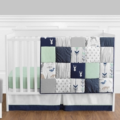 Navy Blue, Mint and Grey Woodsy Deer Baby Bedding - 11pc Boys Crib Set by Sweet Jojo Designs