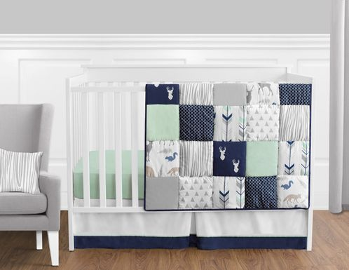 Navy Blue, Mint and Grey Woodsy Deer Baby Bedding - 11pc Boys Crib Set by Sweet Jojo Designs - Click to enlarge