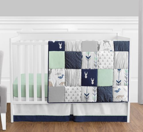 Navy Blue, Mint and Grey Woodsy Deer Baby Bedding - 4pc Boys Crib Set by Sweet Jojo Designs - Click to enlarge