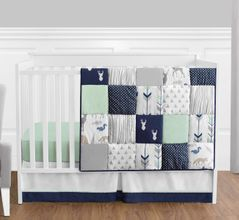 Navy Blue, Mint and Grey Woodsy Deer Baby Bedding - 4pc Boys Crib Set by Sweet Jojo Designs