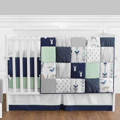 Navy Blue, Mint and Grey Woodsy Deer Baby Bedding - 9pc Boys Crib Set by Sweet Jojo Designs