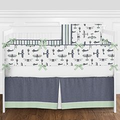 Navy Blue, Mint Green, Grey and White Vintage Airplane Aviator Baby Boy Crib Bedding Set with Bumper by Sweet Jojo Designs - 9 pieces