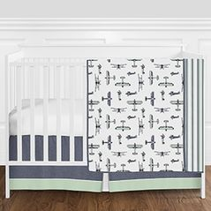 Navy Blue, Mint Green, Grey and White Vintage Airplane Aviator Baby Boy Crib Bedding Set without Bumper by Sweet Jojo Designs - 4 pieces