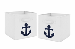 Navy Blue Nautical Anchor Foldable Fabric Storage Cube Bins Boxes Organizer Toys Kids Baby Childrens for Anchors Away Collection by Sweet Jojo Designs - Set of 2