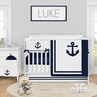 Navy Blue Nautical Anchors Baby Boy Nursery Crib Bedding Set by Sweet Jojo Designs - 5 pieces - Anchors Away