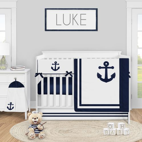 Navy Blue Nautical Anchors Baby Boy Nursery Crib Bedding Set by Sweet Jojo Designs - 5 pieces - Anchors Away - Click to enlarge
