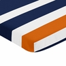 Navy Blue, Orange, and White Fitted Baby Mini Portable Crib Sheet for Stripe Collection by Sweet Jojo Designs