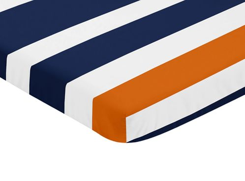 Navy Blue, Orange, and White Fitted Baby Mini Portable Crib Sheet for Stripe Collection by Sweet Jojo Designs - Click to enlarge