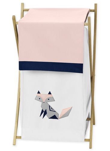 Navy Blue, Pink, and Grey Baby Kid Clothes Laundry Hamper for Woodland Fox Collection by Sweet Jojo Designs - Click to enlarge