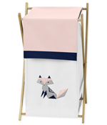 Navy Blue, Pink, and Grey Baby Kid Clothes Laundry Hamper for Woodland Fox Collection by Sweet Jojo Designs
