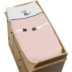 Navy Blue, Pink, and Grey Changing Pad Cover for Woodland Fox Collection by Sweet Jojo Designs
