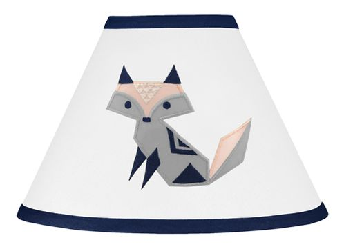Navy Blue, Pink, and Grey Lamp Shade for Woodland Fox Collection by Sweet Jojo Designs - Click to enlarge