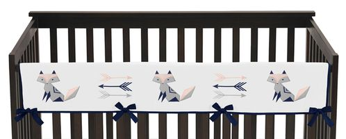 Navy Blue, Pink, and Grey Long Front Crib Rail Guard Baby Teething Cover Protector Wrap for Woodland Fox and Arrow Collection by Sweet Jojo Designs - Click to enlarge