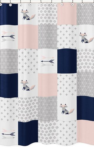 Navy Blue, Pink, and Grey Patchwork Bathroom Fabric Bath Shower Curtain for Woodland Fox and Arrow Collection by Sweet Jojo Designs - Click to enlarge
