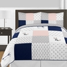 Navy Blue, Pink, and Grey Patchwork Woodland Fox and Arrow Girl Full / Queen Kid Childrens Bedding Comforter Set by Sweet Jojo Designs - 3 pieces