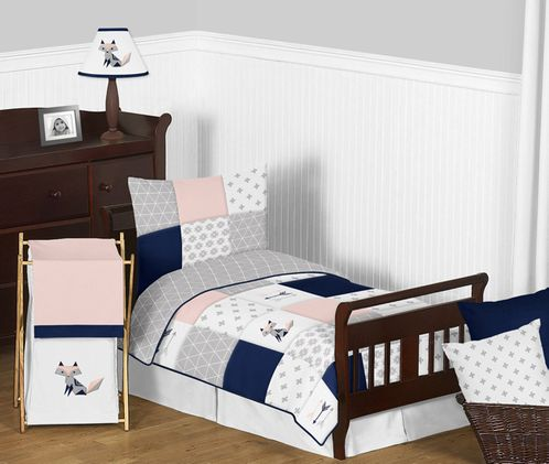 hot sale online cbac6 19f23 Navy Blue, Pink, and Grey Patchwork Woodland Fox and Arrow Girl Toddler Kid  Childrens Bedding Set by Sweet Jojo Designs 5 pieces Comforter, Sham and ...