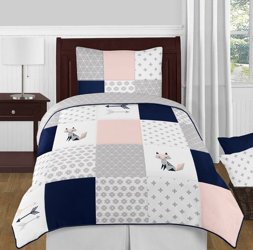 Navy Blue, Pink, and Grey Patchwork Woodland Fox and Arrow Girl Twin Kid Childrens Bedding Comforter Set by Sweet Jojo Designs - 4 pieces - Click to enlarge
