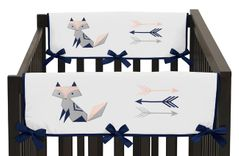 Navy Blue, Pink, and Grey Side Crib Rail Guards Baby Teething Cover Protector Wrap for Woodland Fox and Arrow Collection by Sweet Jojo Designs - Set of 2