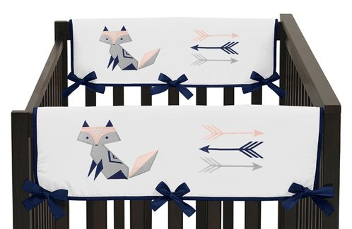 Navy Blue, Pink, and Grey Side Crib Rail Guards Baby Teething Cover Protector Wrap for Woodland Fox and Arrow Collection by Sweet Jojo Designs - Set of 2 - Click to enlarge