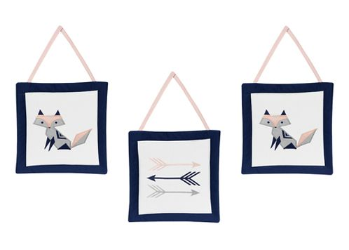 Navy Blue, Pink, and Grey Wall Hanging Decor for Woodland Fox and Arrow Collection by Sweet Jojo Designs - Set of 3 - Click to enlarge