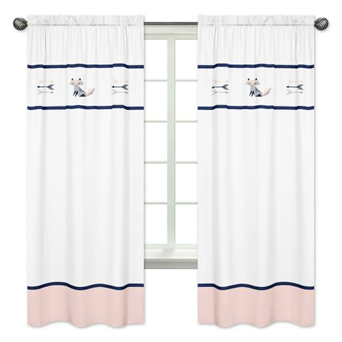 Navy Blue, Pink, and Grey Window Treatment Panels Curtains for Woodland Fox and Arrow Collection by Sweet Jojo Designs - Set of 2 - Click to enlarge