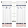 Navy Blue, Pink, and Grey Window Treatment Panels Curtains for Woodland Fox and Arrow Collection by Sweet Jojo Designs - Set of 2