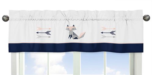 Navy Blue, Pink, and Grey Window Treatment Valance for Woodland Fox and Arrow Collection by Sweet Jojo Designs - Click to enlarge
