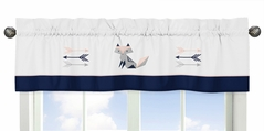 Navy Blue, Pink, and Grey Window Treatment Valance for Woodland Fox and Arrow Collection by Sweet Jojo Designs