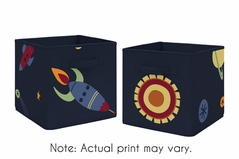 Navy Blue Planets Organizer Storage Bins for Space Galaxy Collection by Sweet Jojo Designs - Set of 2