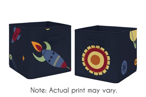 Navy Blue Planets Organizer Storage Bins for Space Galaxy Collection by Sweet Jojo Designs - Set of 2 - Click to enlarge