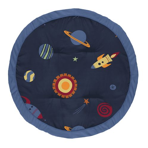 Navy Blue Planets Playmat Tummy Time Baby and Infant Play Mat for Space Galaxy Collection by Sweet Jojo Designs - Click to enlarge