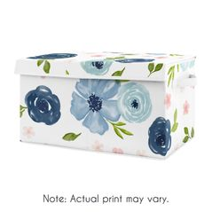 Navy Blue Watercolor Floral Girl Small Fabric Toy Bin Storage Box Chest For Baby Nursery or Kids Room by Sweet Jojo Designs - Blush Pink, Green and White Shabby Chic Rose Flower
