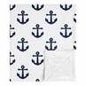Navy Blue White Anchors Baby Boy Girl Blanket Receiving Security Swaddle for Newborn or Toddler Nursery Car Seat Stroller Soft Minky by Sweet Jojo Designs - Nautical Theme Ocean Sailboat Sea Marine Sailor Anchor Unisex Gender Neutral