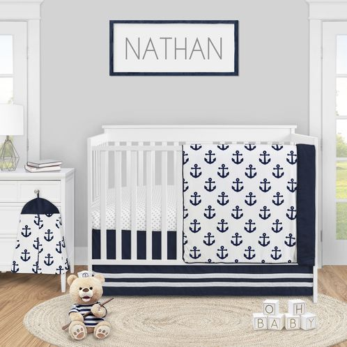 Navy Blue White Anchors Baby Boy Girl, White And Navy Cot Bedding