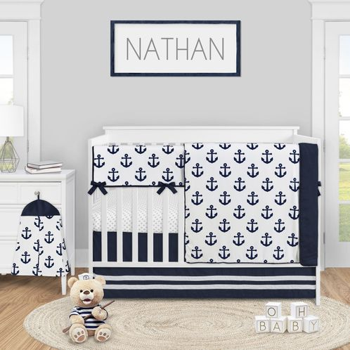 Navy Blue White Anchors Baby Boy Girl Nursery Crib Bedding Set by Sweet Jojo Designs - 5 pieces - Nautical Theme Ocean Sailboat Sea Marine Sailor Anchor Grey Polka Dot Unisex Gender Neutral - Click to enlarge