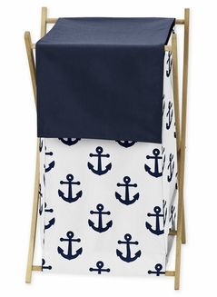 Navy Blue White Anchors Baby Kid Clothes Laundry Hamper by Sweet Jojo Designs - Nautical Theme Ocean Sailboat Sea Marine Sailor Anchor Unisex Gender Neutral
