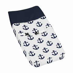 Navy Blue White Anchors Boy Girl Baby Nursery Changing Pad Cover by Sweet Jojo Designs - Nautical Theme Ocean Sailboat Sea Marine Sailor Anchor Unisex Gender Neutral