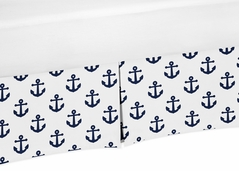 Navy Blue White Anchors Boy Girl Baby Nursery Crib Bed Skirt Dust Ruffle by Sweet Jojo Designs - Nautical Theme Ocean Sailboat Sea Marine Sailor Anchor Unisex Gender Neutral