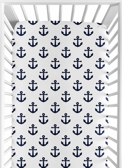 Navy Blue White Anchors Boy Girl Fitted Crib Sheet Baby or Toddler Bed Nursery by Sweet Jojo Designs - Nautical Theme Ocean Sailboat Sea Marine Sailor Anchor Unisex Gender Neutral