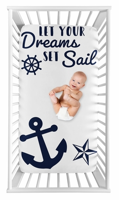 Navy Blue White Anchors Boy Girl Fitted Crib Sheet Baby or Toddler Bed Nursery Photo Op by Sweet Jojo Designs - Nautical Theme Ocean Sailboat Sea Marine Sailor Anchor Dreams Set Sail Unisex Gender Neutral